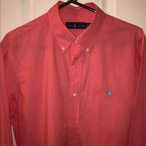 Ralph Lauren long sleeve button down. Salmon color